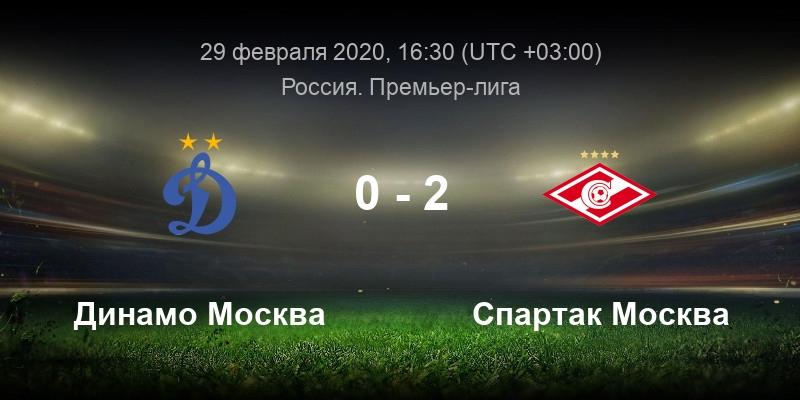 Динамо - Спартак 29 февраля смотреть онлайн