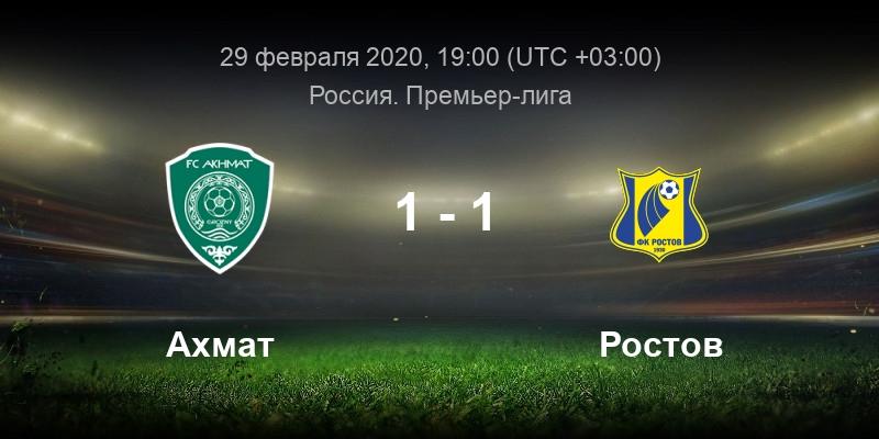 Ахмат - Ростов 29 февраля смотреть онлайн